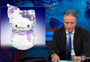 Jon Stewart and Hello Kitty Crystal Snowman