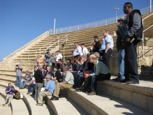 Holy Land Pilgrims at Caesaria Maritima's Roman Amphiteatre